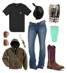 """Sorry About The Random Sets, I Wanted To Enter Some Contests :O"" by im-a-jeans-and-boots-kinda-girl on Polyvore featuring Carhartt, Justin Boots, Laredo, Rayban and country"