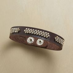 """STRADA BRACELET--Segments of bead ball chain are hand stitched to trace paths along supple Italian leather. A Sundance exclusive. Snap closure: fits 6-1/2"""" to 7-1/2"""" wrists."""