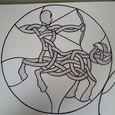 Sagittarius-inspired celtic knot design to be built in stained glass!