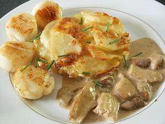 Fricassée de Saint-Jacques aux cèpes Potato Salad, Shrimp, Potatoes, Ethnic Recipes, Cooking Recipes, Seafood, Dish, Food, Mushroom