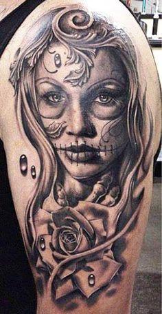 Realism Muerte Tattoo by Daniel Rocha - http://worldtattoosgallery.com/realism-muerte-tattoo-by-daniel-rocha-2/