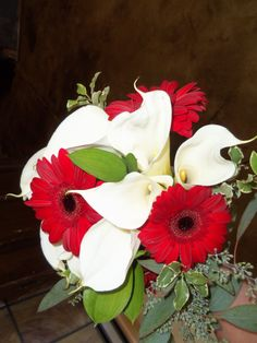 Red Gerbera Daisies and White Cala Lilies Bridal Bouquet