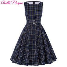 Belle poque donne summer dress 2017 rockabilly audrey hepburn tunica veste abbigliamento casual vestidos 50 s dell'annata plaid abiti(China (Mainland))