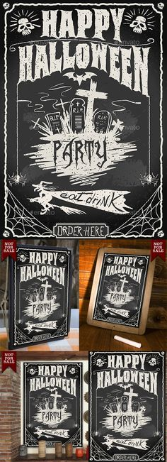 Detailed illustration of a Vintage Blackboard for Halloween Party for Bar or Restaurant Illustration in EPS10 with color space in