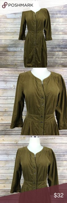 "Anthropologie Maeve Green Corduroy Shirt Dress 4 Maeve corduroy shirt dress. Size 4. Green color perfect for the fall and cooler months. C O N D I T I O N: Excellent. No flaws or issues.  M E A S U R E M E N T S: (Laying Flat)  18"" armpit to armpit  14"" across at waist 37"" long (shoulder to bottom) C O L O R: Olive Green  M A T E R I A L: Cotton  T H A N K Y O U : ) Anthropologie Dresses Midi"