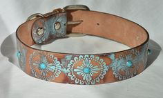 BOHO Turquoise Leather Dog Collar Turquoise Western by Dog Tumblr, Collar Tips, Collor, Aggressive Dog, Dog Hacks, Leather Dog Collars, Cat Lover Gifts, Dog Accessories, Dog Supplies