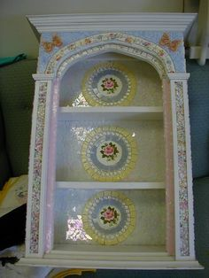 my mosaic pieces, crafts, painted furniture, This is a curio cabinet that is heavy and sets on a table It is made out of beautiful china stained glass and kiln fired butterfly designs