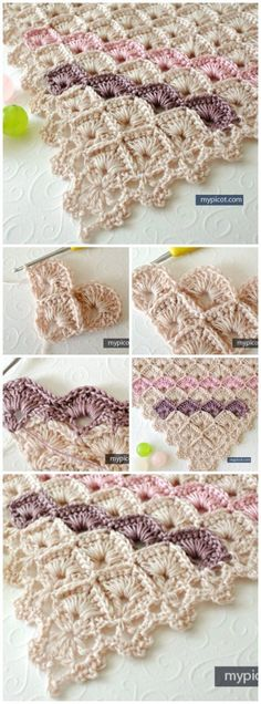 """FREE Crochet pattern for a gorgeous triangle shawl using the box stitch pattern. [   """"FREE Crochet pattern for a gorgeous triangle shawl using the box stitch pattern. Hmmm a different kind of corner to corner Love it!"""",   """"The crochet box stitch that was Stitch of the Week last week? We"""