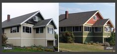 Talk about a transformation! The Sherwin Williams' craftsman colors of Avocado and Rookwood Terra Cotta were just the ticket for this home that is being lovingly restored.