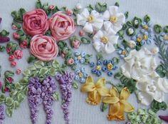 Flores de guirnaldas de cinta de seda kit de bordado del