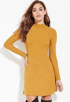 Ribbed High-Neck Dress | Forever 21 - 2000146235