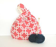 Large Knitting Bag Coral Links Knitting Tote Japanese Knot bag gift for knitters
