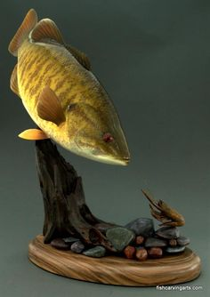 Smallmouth Bass wood carving by chadturner.net