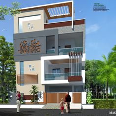 3 Storey House Design, Bungalow House Design, House Front Design, Modern House Design, Building Elevation, House Elevation, Model House Plan, House Plans, House Design Pictures
