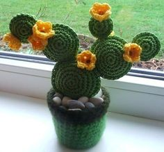 How to Knit the Bamboo Stitch Easy Free Knitting Pattern with Studio Knit via Crochet Leaf Patterns, Amigurumi Patterns, Crochet Stitches, Crochet Animals, Crochet Toys, Diy Crochet, Cactus Craft, Cactus Decor, Crochet Cactus
