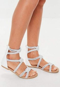 d12e785dd34 Missguided White Multi Knot Rope Flat Sandals Only Fashion