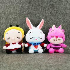 Alice in Wonderland, stuffies, Alice, White Rabbit, Cheshire Cat, plush, stuffed animals, plushies.