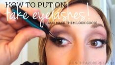 How to put on fake eyelashes (and make them look good!). They cost $5 or less and can be reused again and again. SO MUCH CHEAPER than eyelash extensions! #lashes #makeup