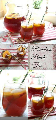 Bourbon Peach Tea: Perfect Summer Cocktail in a Pitcher - Bourbon peach tea is the perfect sweet, summer cocktail for those hot summer days! From RestlessChi - Lemon Drop Martini, Summer Drinks, Fun Drinks, Alcoholic Drinks, Party Drinks, Mixed Drinks, Tea Party, Tea Cocktails, Classic Cocktails