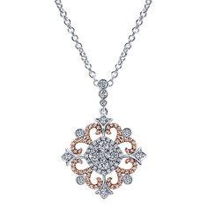 18k White/pink Gold Diamond Fashion Necklace   Gabriel & Co NY   NK5030T84JJ