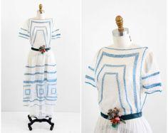 antique 1910s dress / Edwardian wedding dress / Blue and White Downton Abbey Wedding Dress