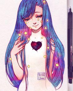 Double tap to mend the heart 💔❤️~ Cartoon Drawings, Cartoon Art, Cute Drawings, Pretty Art, Cute Art, Arte Copic, Yuumei Art, Qinni, Galaxy Art