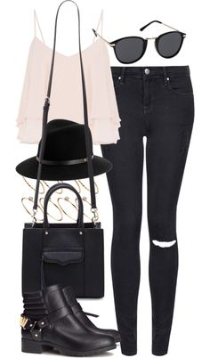 outfit for going to the cinema by im-emma featuring short bootsTopshop skinny jeans, $64 / Cameo Rose light pink cami, $17 / H&M short boots, $59 / Rebecca Minkoff leather tote / ASOS round ring / Rag Bone black fedora / Mink Pink black sunglasses, $47