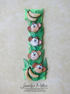 Monkey Jungle Theme Number Birthday Cake Topper by ArteDiAmore, $26.00