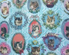 Framed Cats Material Blue Pink Vintage by CoralHomeAccessories