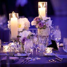 Purple & white wedding reception decor / Heather DeCamp Photography // Kehoe Designs