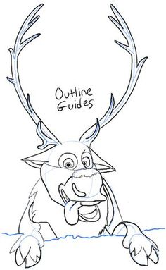 Step step09 sven from frozen How to Draw Sven the Reindeer from Frozen Step by Step Tutorial- could just have head and legs