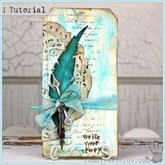 Tammy Tutterow Tutorial   Write Your Story Atc Cards, Card Tags, Gift Tags, Tag Art, Feather Cards, Art Carte, Mixed Media Cards, Handmade Tags, Mix Media