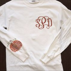 Monogram shirt with pumpkin on sleeve by StudioChaseDesigns