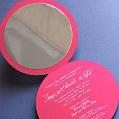 Redefine what it means to celebrate in style! We love this compact mirror invitation for a 50th birthday party.