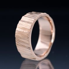 Saw Cut Rose Gold Wide Wedding Band Ring - Textured 14k Rose Gold Wedding Ring, Mens Wedding Band, Womens Wedding Ring, unique handmade Ring