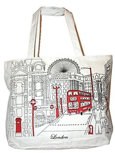 Value for Money White Canvas London Landmark Red Bus Shopper bag