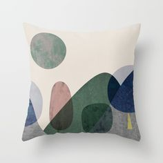Trees and mountains Throw Pillow by FLATOWL | Society6