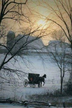 A simple winter scene, just the sun setting over a lovely barn and a lonesome Amish buggy plodding it's way home. Winter Szenen, I Love Winter, Winter Magic, Winter Time, Winter Night, Country Barns, Amish Country, Old Barns, Amish Farm