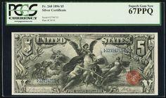 1896 $5 FR-268 Educational Silver Certificate PCGS SUPERB GEM Uncirculated 67PPQ