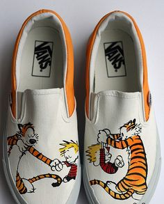 f7d659ad39 custom Calvin and Hobbes Shoes Slip-on Painted Canvas Shoes