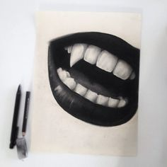 Vampire Mouth #art #fangs #black #white #pencil #sketch Vampire Drawings, Dark Drawings, Pencil Art Drawings, Zombies, Vampire Tattoo, Mouth Drawing, Halloween Drawings, Sketchbook Inspiration, Art Challenge