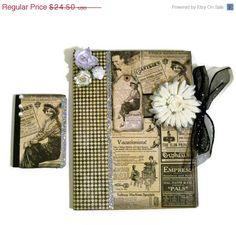 CIJ SALE 15 Off Altered Composition Book Set  by AuriesDesigns, $20.83