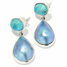 Gem Insider Sterling Silver 18 x 12mm Mabe Cultured Pearl & Turquoise Earrings