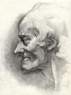 Sculpture académique, classique, dessin - dessin au fusain original - « Voltaire », crayon de charbon de bois, papier