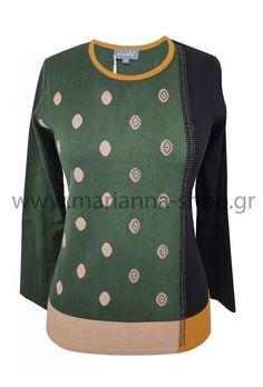 Μπλούζα πράσινη βούλες Jumpers, Knitwear, Sweaters, Shopping, Fashion, Moda, Tricot, Fashion Styles, Jumper