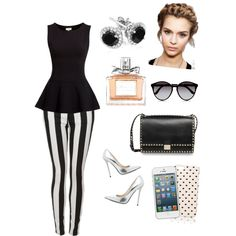 I'm absolutely loving black and white striped pants! White Outfits, Summer Outfits, Simple Style, My Style, Night Out Outfit, Material Girls, Swagg, Stripe Print, Everyday Outfits