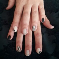 Black/Nude/Glitter Gelish nail art mani
