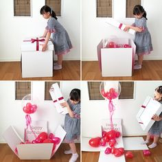 Balloon Box, Balloon Gift, Balloon Bouquet, Surprise Box Gift, Diy Gift Box, Birthday Balloon Decorations, Birthday Balloons, Kids Craft Box, Balloon Surprise