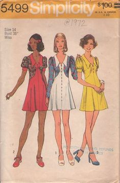 MOMSPatterns Vintage Sewing Patterns - Simplicity 5499 Vintage 70's Sewing Pattern DANDY Mod Micro Mini Fauxlero Faux Contrast Sides Jacket Look Flated Party Dress, Babydoll Cigarette Girl Styles!