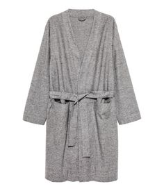 Bathrobe in woven cotton fabric with a nepped texture. Long sleeves, patch front pockets, and a tie belt at waist. Belt Tying, David Beckham, Cotton Fabric, Woven Cotton, Dressing, Gowns, Grey, Long Sleeve, Sleeves